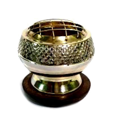 Crosshatched Brass Charcoal Burner on Stand